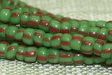 14º Grass Green  with Red Stripes Seed Beads