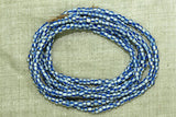 Strand of White with Blue Stripe Seed Beads