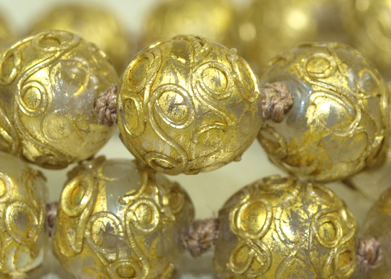 Venetian Wedding-Cake Beads, Clear with Gold Leaf | Beadparadise.com