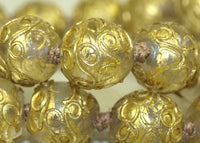 Venetian Wedding-Cake Beads, Clear with Gold Leaf