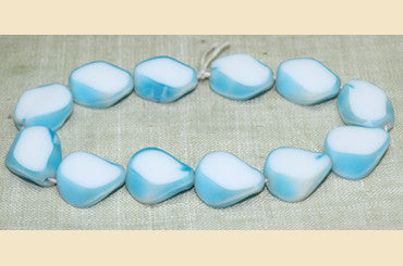Vintage Blue & White Windowpane Glass Beads