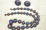 Vintage Ash Blue Wedding Cake Beads Necklace & Matching Earrings