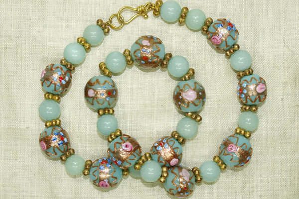 Vintage Pale Blue Wedding Cake Beads!
