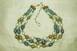 Vintage Blue wedding Cake and Pearl Bead Necklace