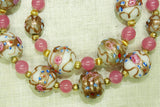 Necklace of Vintage Pink Wedding Cake Beads