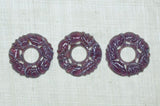 Vintage Glass Cabochons, Striated Amethyst Donuts