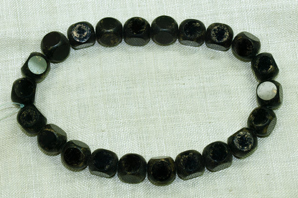 Vintage German Glass Beads, Black w/Gold Flecks