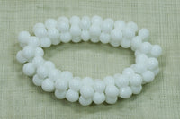 Vintage German Glass Puffy White Flower Beads