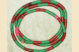 6mm African Green and Red Vinyl Disc Beads