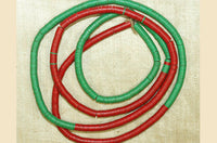 4mm Green and Red Vinyl Disc Beads