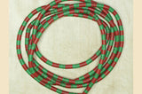 "64"" Strand of 6mm Dark Green and Red Vinyl Disc Beads"