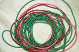 "252"" of 3mm Pink, Green, and Red Vintage Vinyl Disc Beads"