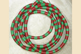 "60"" Strand of Red and Green Vinyl Disc Beads"