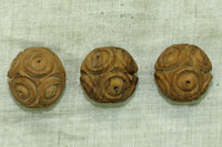 Funky Small Vintage Macrame Wood Bead