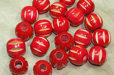 Funky Vintage Macrame Wood Bead, Red