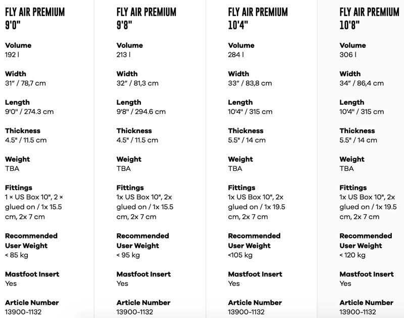 Fanatic fly air premium size chart