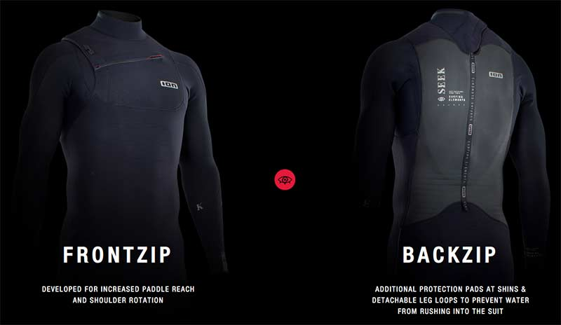 ION wetsuits compare front zip backzip