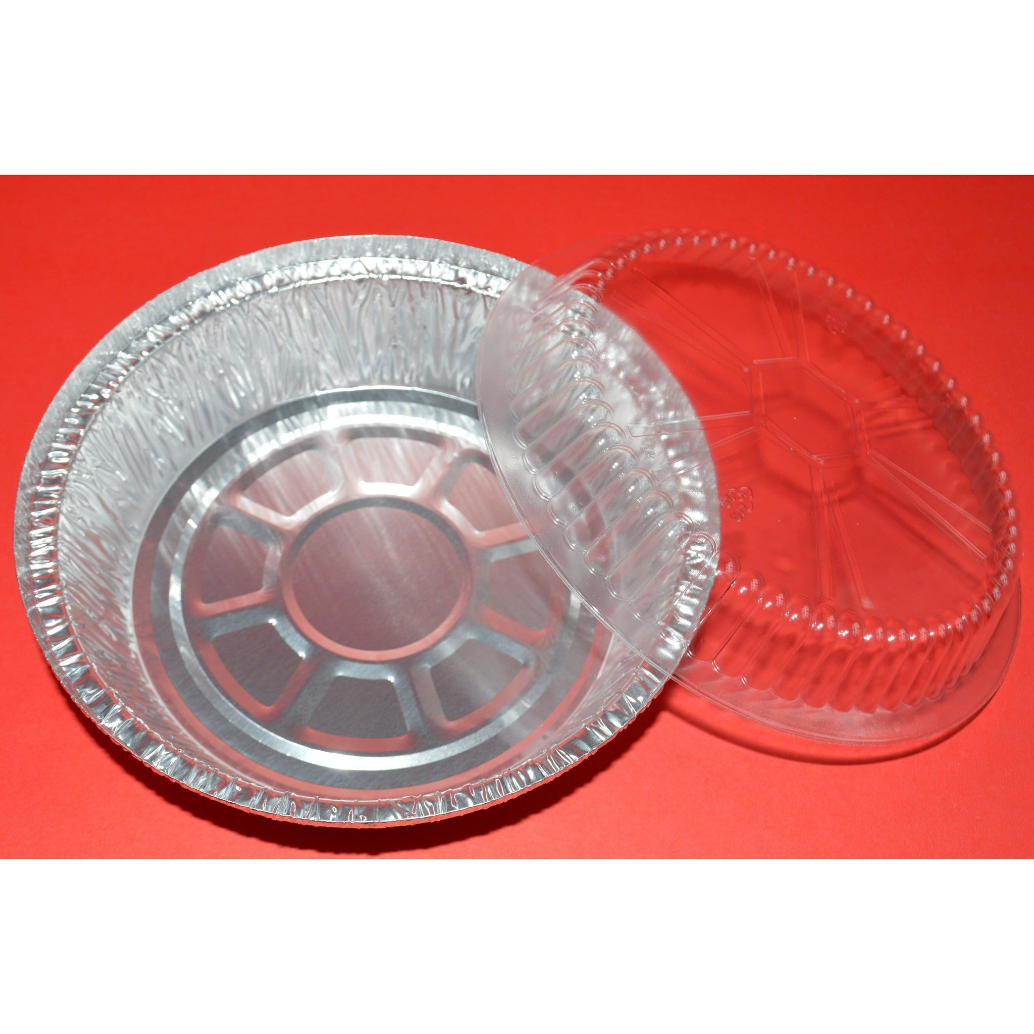 Round Aluminum Container Raised Plastic Lids - 500 Pieces