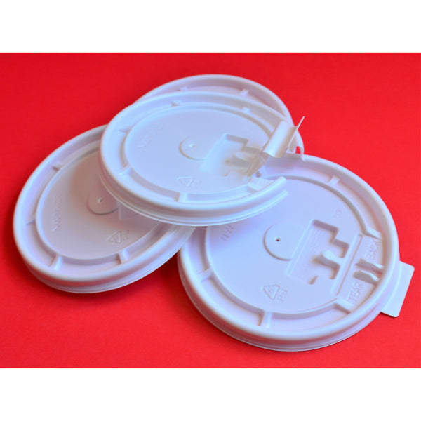 10-24 OZ Flat Flip-Tab Coffee Cup Lids - White