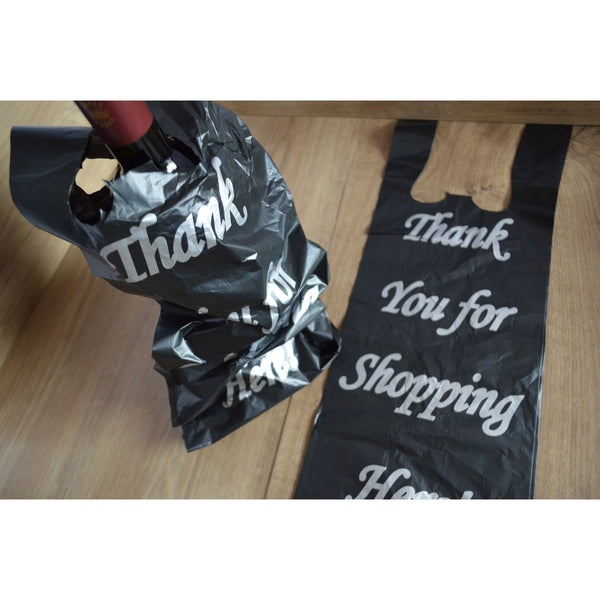 2-Bottle Black Liquor Bottle Bags