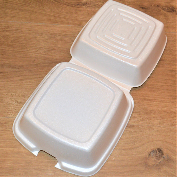 "8"" x 8"" x 3"" Foam Hinged Containers"
