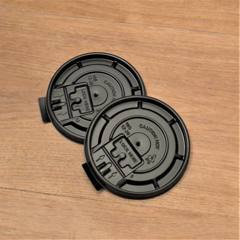 8 OZ Flat Flip-Tab Coffee Cup Lids - Black