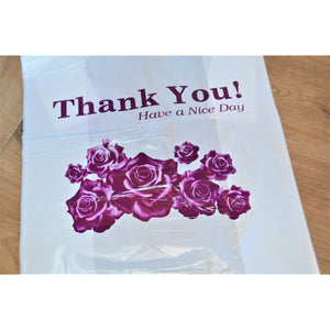 Thank you w/ Purple Flower Plastic Shopping Bags