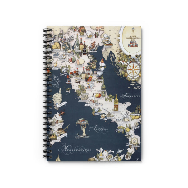 Italy Gastronome Map Spiral Notebook