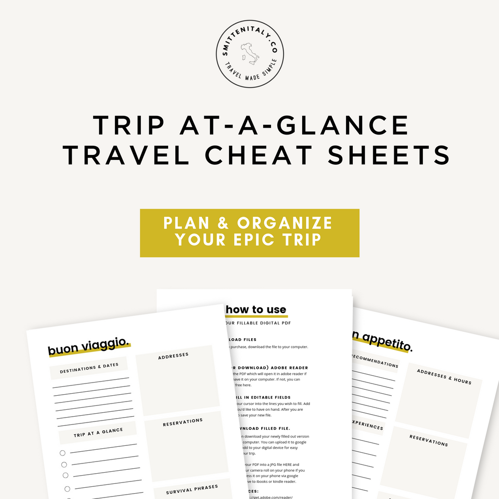 Trip at-a-glance Travel Planning Cheat Sheets- Smitten Italy