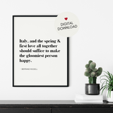 Italian Spring Quote Printable Wall Art