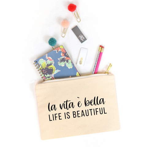 La Vita é Bella Cosmetic Bag