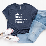 Smitten Italy Italian Food Lovers T-Shirt (Pizza, Pasta, Prosecco Repeat.)