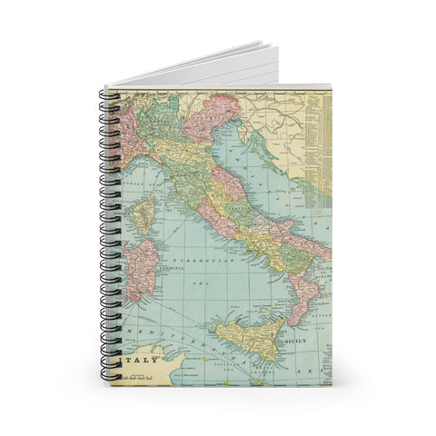 Italy Map Spiral Notebook