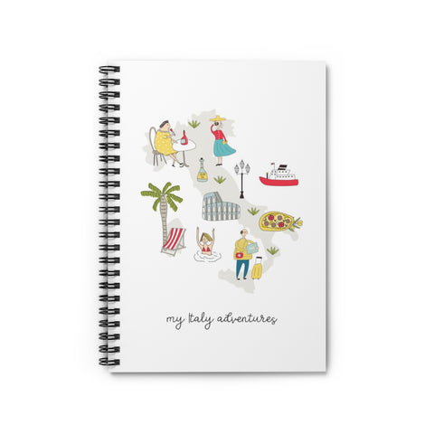 Italy Adventures Map Spiral Notebook