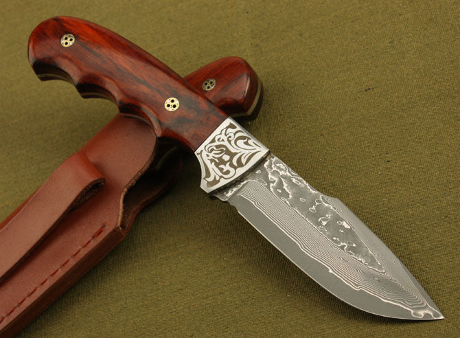 Handmade Forged Damascus Steel Hunting Knife w/ Ebony Handle and Leather Sheath
