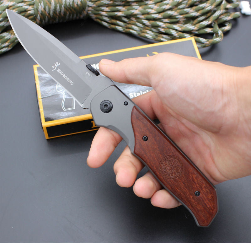BROWNING Folding Knife with Wood Handle