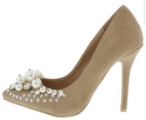Pearl and Rhinestone Embellished Heel