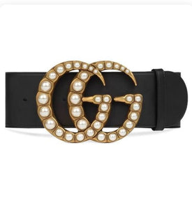 Gucci Pearl Black Belt