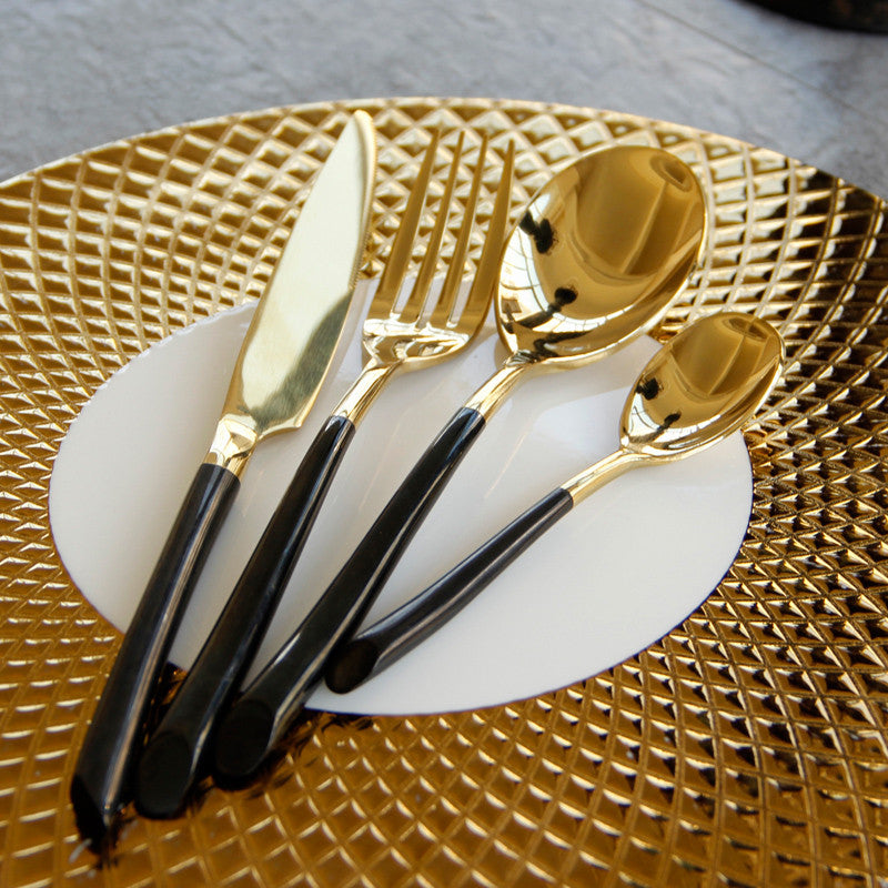 ... Cutlery Set Stainless Steel 4Pcs Tableware Gold Black & Cutlery Set Stainless Steel 4Pcs Tableware Gold Black \u2013 O D E V A I