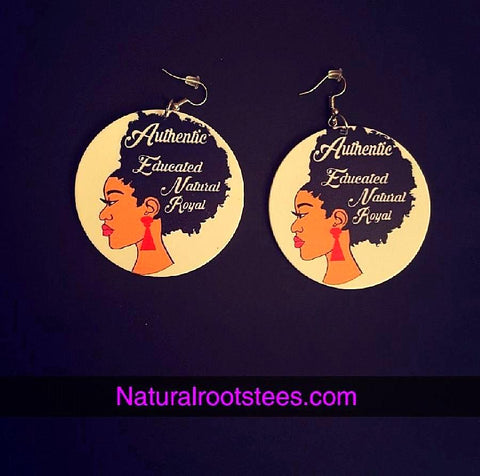 African American wood Earrings - Royal Queen