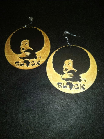 African American Engraved wood Earrings - Black Afrocentric