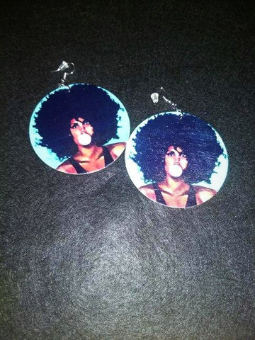 African American wood Earrings - Burst your Bubble