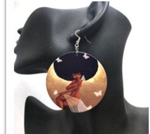 African American wood Earrings - Butterfly Afro Queen