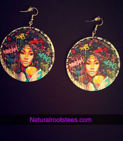 African American wood Earrings - Colorful Queen