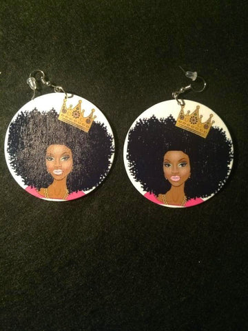 African American wood Earrings - Queen with Crown