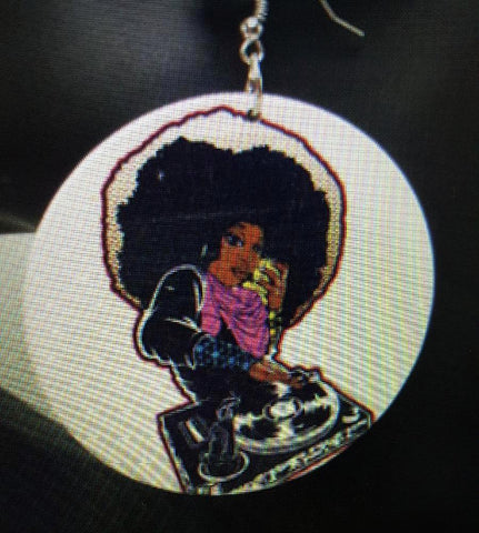 African American wood Earrings - Queen DJ