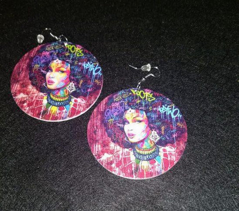 African American wood Earrings - Drip Queen