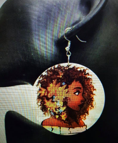 African American wood Earrings -  Queen with Flowers