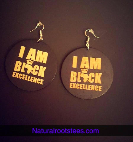 African American Engraved wood Earrings - I Am Black Excellence