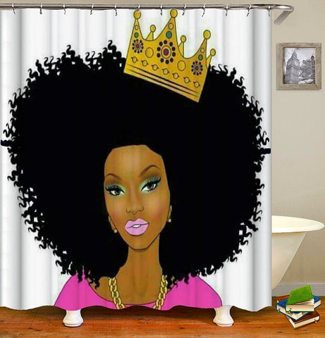 Bundle set of Afrocentric Queen with Crown shower curtain, canvas , and bath mat.